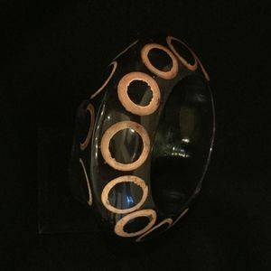 Jewelry - Black and Gold Hand Painted Bangle